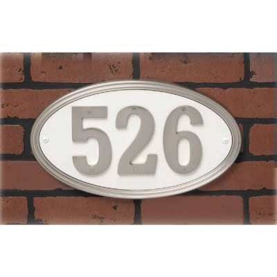 Hy-Ko Prestige Series Plastic Oval Satin Nickel Address Plate