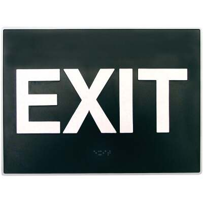 Hy-Ko Deco Series Plastic Braille Sign, Exit