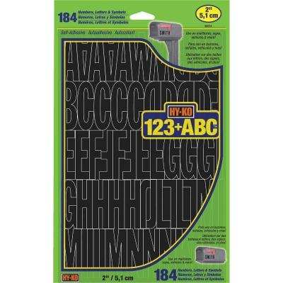Hy-Ko 2 In. Black Vinyl Letters, Numbers & Symbols (184 Count)