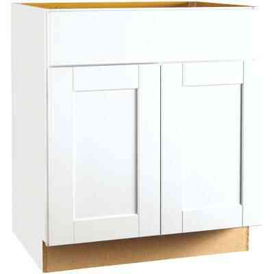 Continental Cabinets Andover Shaker 30 In. W x 34-1/2 In. H x 24 In. D White Thermofoil Sink Base Kitchen Cabinet