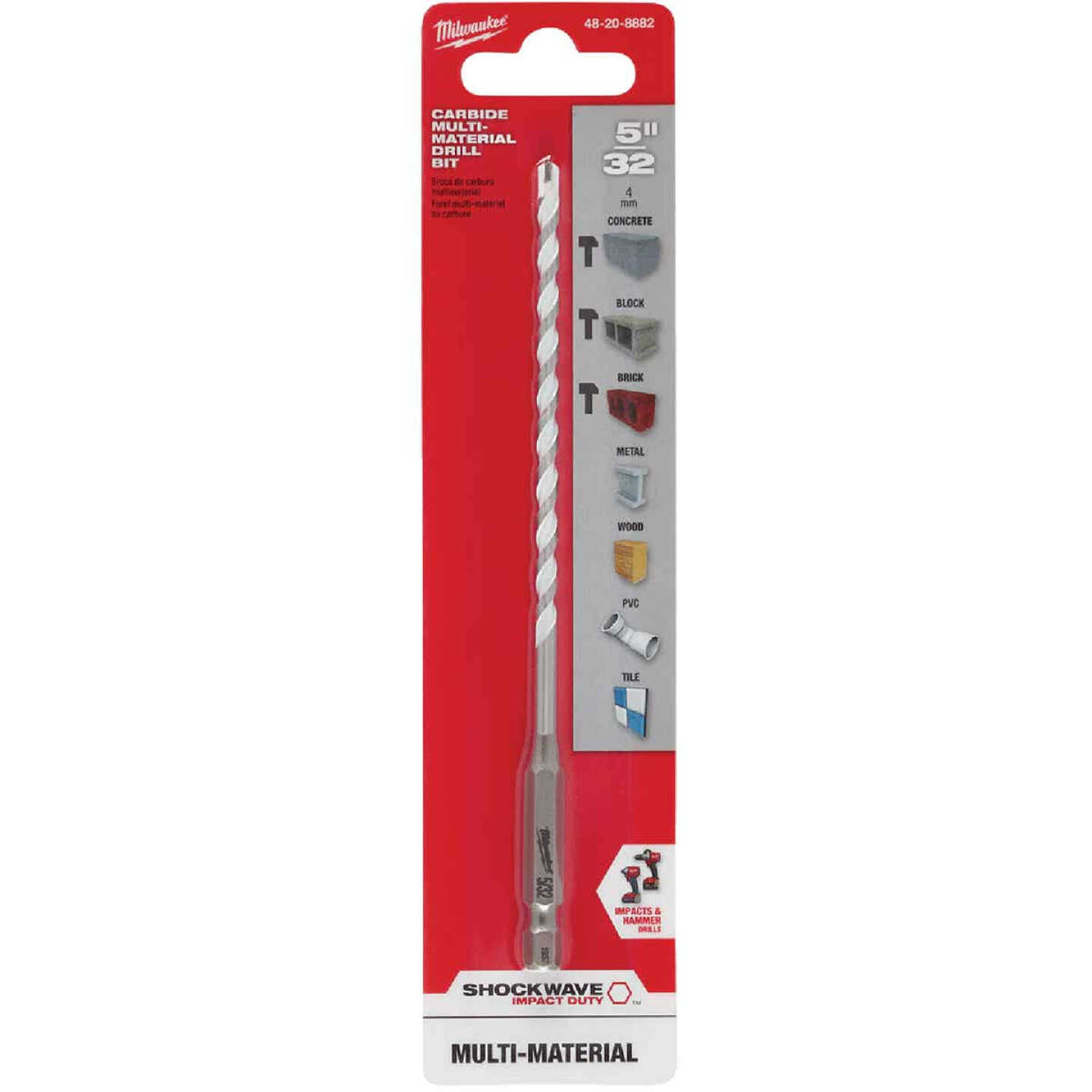 Milwaukee Shockwave 5/32 In. Carbide Multi-Material Hex Shank Drill Bit Image 2