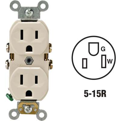 Leviton 15A Light Almond Commercial Grade 5-15R Duplex Outlet