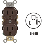 Leviton 15A Brown Commercial Grade 5-15R Duplex Outlet Image 1