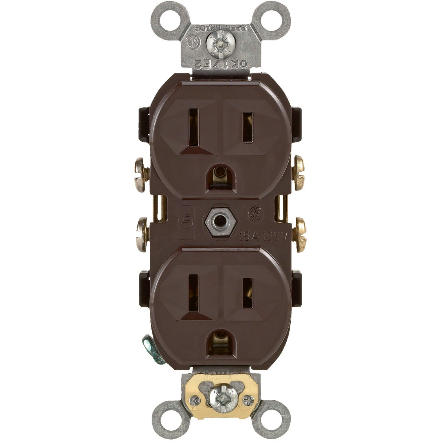 Leviton 15A Brown Commercial Grade 5-15R Duplex Outlet Image 2