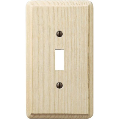 Amerelle 1-Gang Solid Ash Toggle Switch Wall Plate, Unfinished Ash