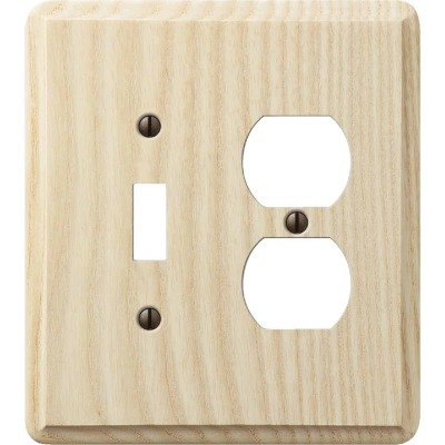 Amerelle 2-Gang Solid Ash Single Toggle/Duplex Outlet Wall Plate, Unfinished Ash