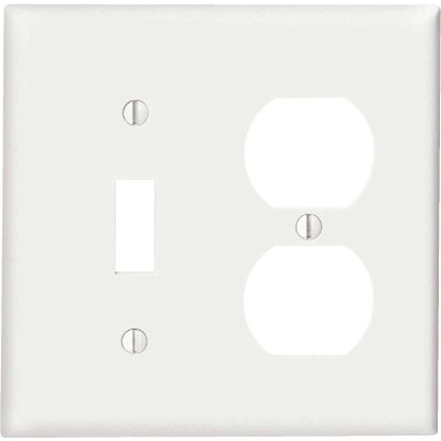 Leviton Commercial Grade 2-Gang Thermoplastic Single Toggle/Duplex Outlet Wall Plate, White