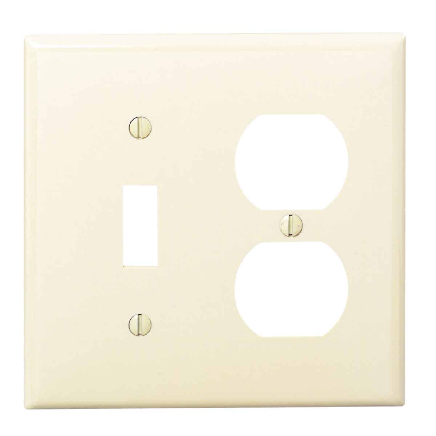 Leviton Commercial Grade 2-Gang Thermoplastic Single Toggle/Duplex Outlet Wall Plate, Ivory Image 1