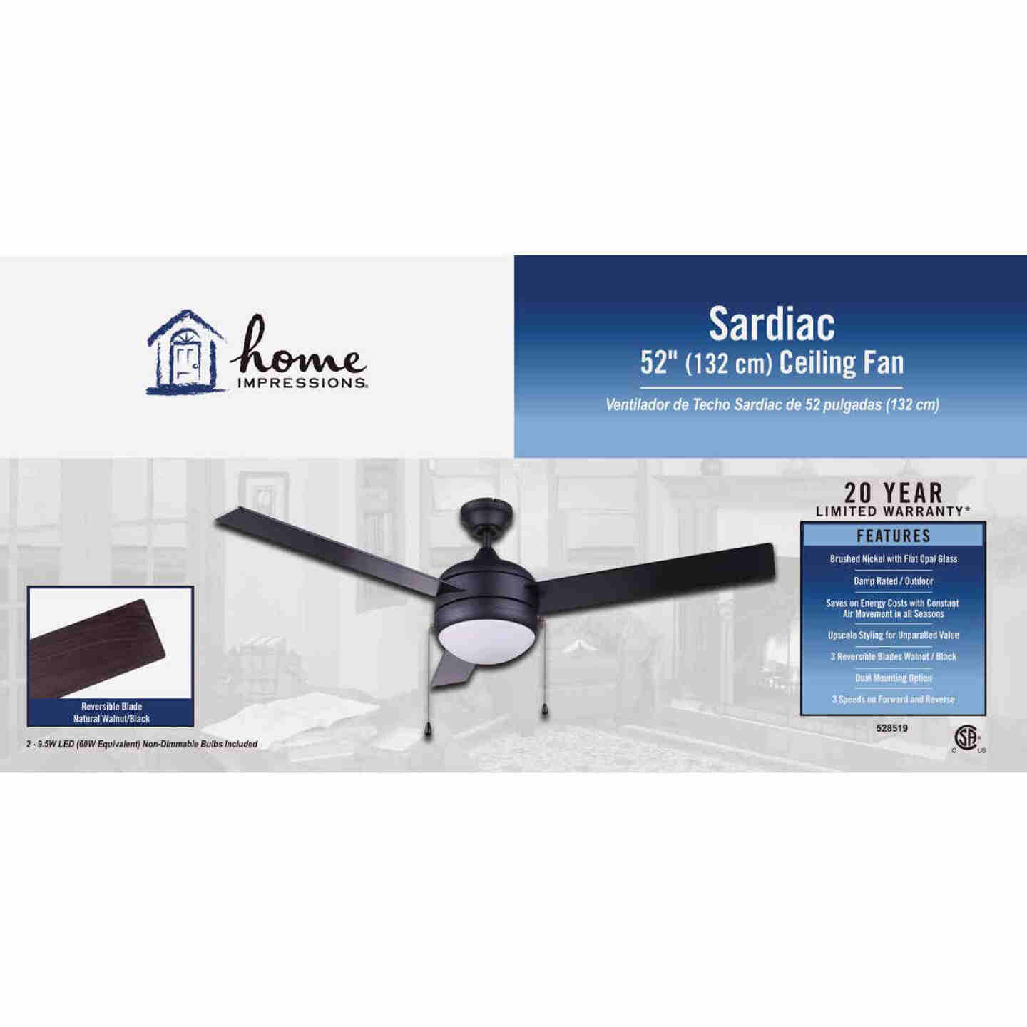 Home Impressions Sardiac 52 In. Brushed Nickel Outdoor Ceiling Fan with Light Kit Image 2