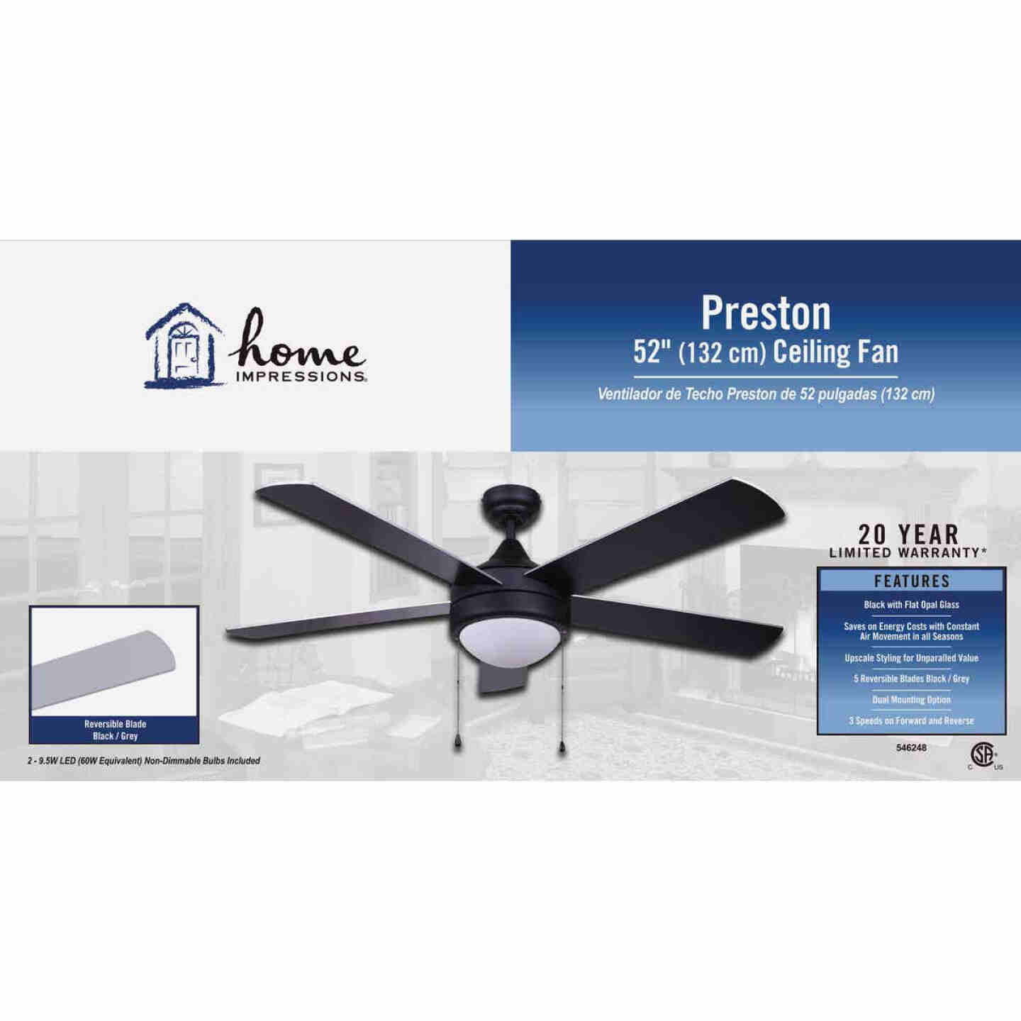 Home Impressions Preston 52 In. Black Ceiling Fan with Light Kit Image 2