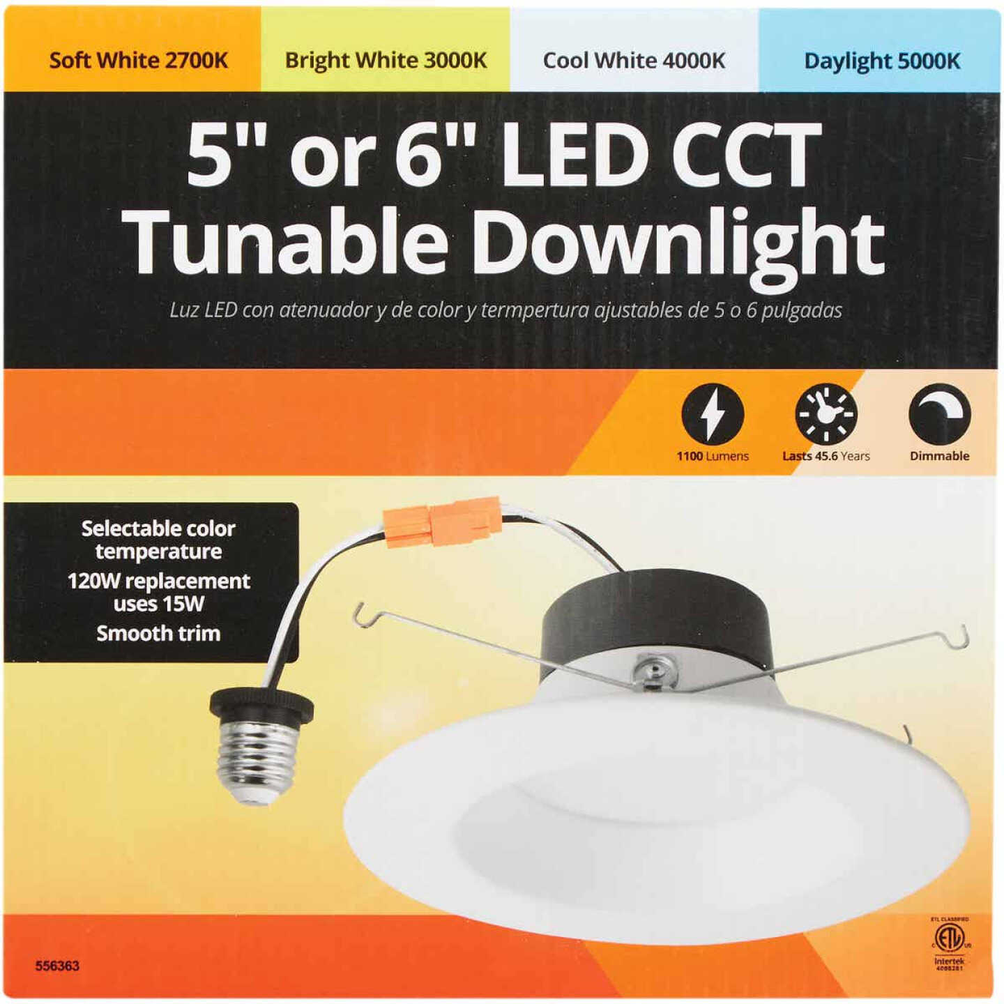 5 In./6 In. Retrofit IC Rated White LED CCT Tunable Down Light with Smooth Trim Image 2