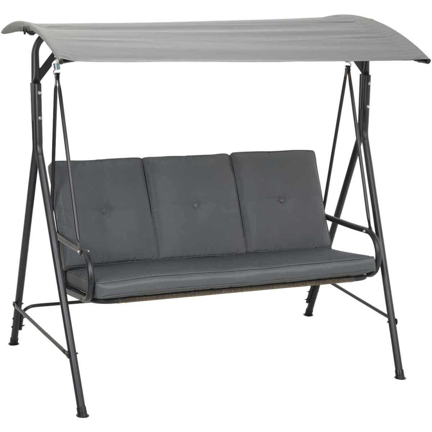 Outdoor Expressions 3-Person 71.65 In. W. x 66.93 In. H. x 49.21 In. D. Gray Patio Swing Image 7