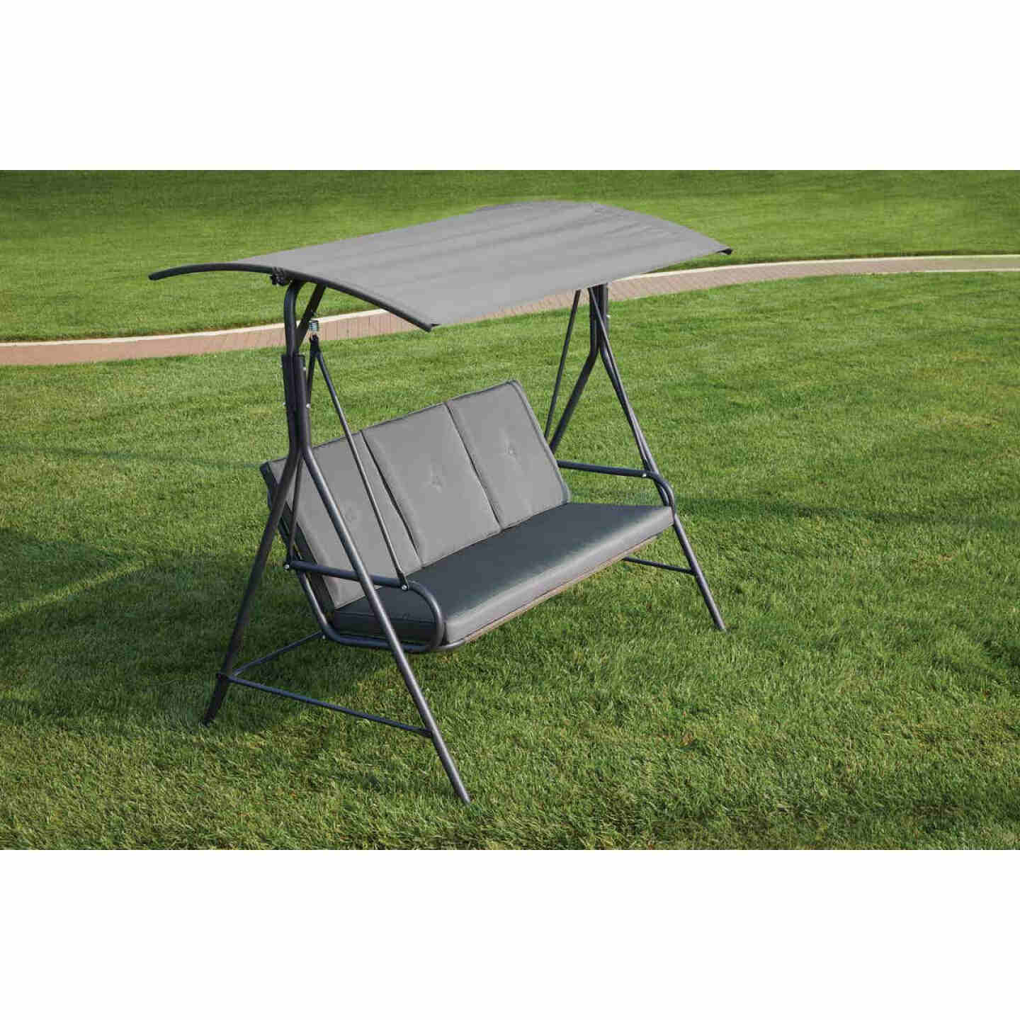 Outdoor Expressions 3-Person 71.65 In. W. x 66.93 In. H. x 49.21 In. D. Gray Patio Swing Image 5