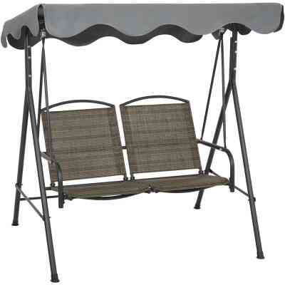 Outdoor Expressions 2-Person 61.41 In. W. x 64.96 In. H. x 47.24 In. D. Brown Patio Swing