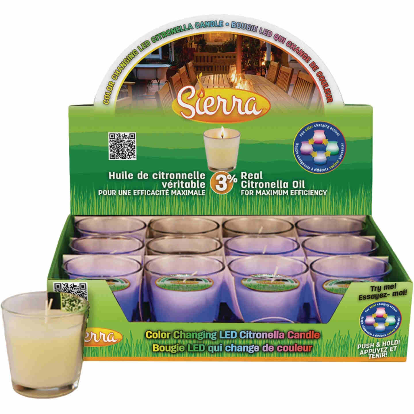 Sierra 4.2 Oz. 1-Wick LED Color Changing Citronella Candle Image 1