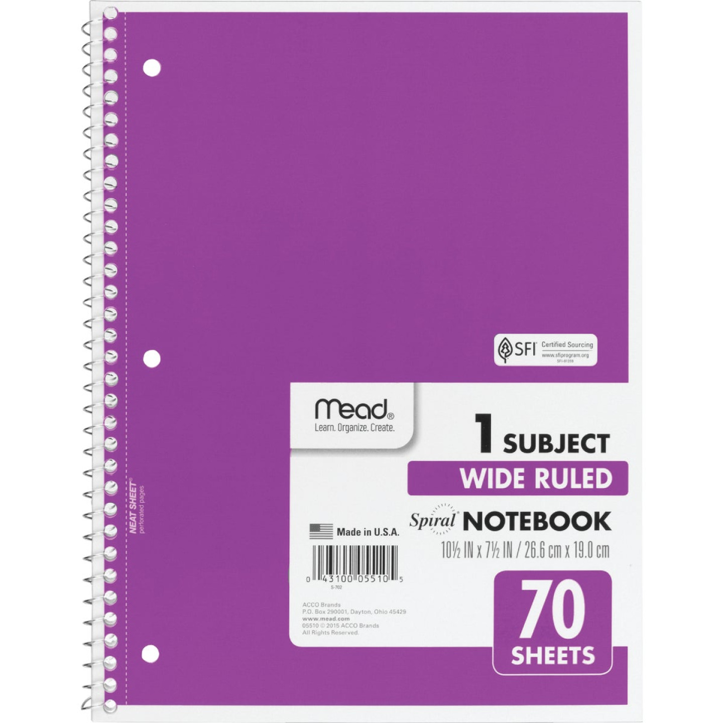 Mead 8 In. W. x 10-1/2 In. H. 70-Sheet Side-Spiral Notebook Image 1